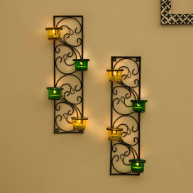 Wall Hanging Twisted Petals Tea Light Candle Diya Holders, Set of 2, Green and Yellow Candle Holder