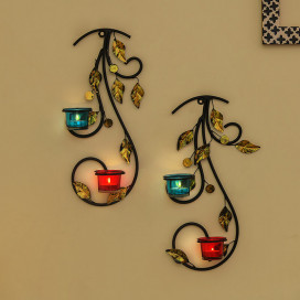 Wall Hanging Leafy Vine Candle Stand, Wall Scone with Turquoise and Red Glass and Candles
