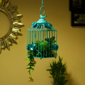 Decorative Hanging Bird Cage, Balcony/Patio Planter Cage/Hanging Candle Holder, Turquoise