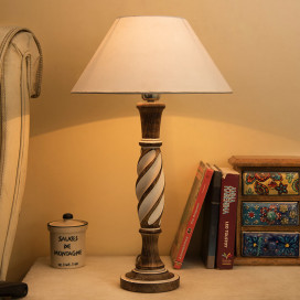 Antique White Twister Wooden Table Lamp with White Shade