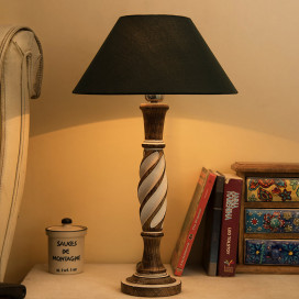 Antique White Twister Wooden Table Lamp with Green Shade