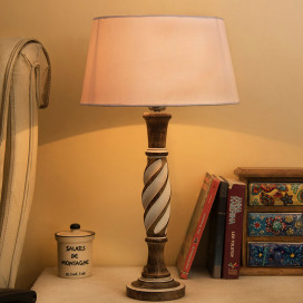 Antique White Twister Wooden Table Lamp with White Drum Shade