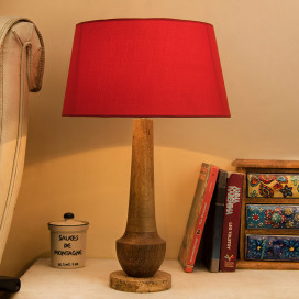 Classic Cubist Wooden Table Lamp, with Red Shade
