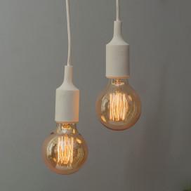 2pcs E27 Socket Chandelier Lamp Light Fixture, White Hanging Silicone Holder Adjustable Modern Pendant Ceiling Lamp