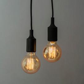 2pcs E27 Socket Chandelier Lamp Light Fixture, Black Hanging Silicone Holder Adjustable Modern Pendant Ceiling Lamp