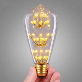 Pear Shape Vintage Edison LED Bulb ST64 Firework Tree Filament Bulb, E27 Lamp Holder, 3W Edison Star Decoration Bulbs
