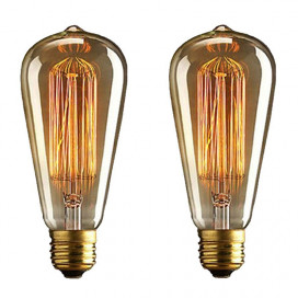 Pear Shape Edison Tungsten Squirrel Cage Filament Vintage Antique Light Bulb E27 ST64, Set of 2