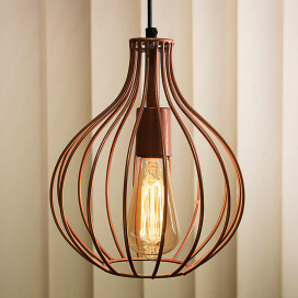 Copper Vintage Edison Filament Hanging Crown , Rose Gold, E27 Hanging Ceiling Light for LED/Filament Bulb, Decorative Urban Retro Lighting
