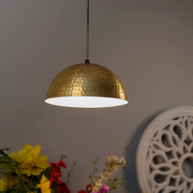 Antique Golden Hammered Pendant Light, Hanging Lights