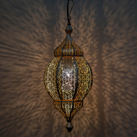 Classic Moroccan Orb Hanging Lamp, Antique and Gold Metal Hanging Pendant Light
