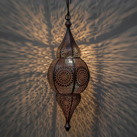 Classic Moroccan Nargis Hanging Lamp, Antique Copper Hanging Pendant Light
