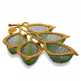 Golden 5 Leaf Glass & Metal Serving Tray, Green