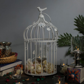 White Bird Cage with Floral Vine Large Single, with Hanging Chain