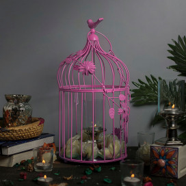 Hot Pink Bird Cage with Floral Vine Large Single, with Hanging Chain
