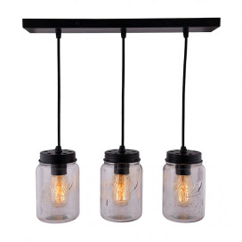 3-Lights Linear Cluster Chandelier Black Mason Jar Hanging Pendant Light, Kitchen Area and Dining Room Light