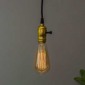 Edison Filaments Bulb Holder Hanging E27 (Brass Finish), with Switch, Retro Industrial