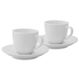 Porcelain 210 ML Cups & Saucers Set of 2, Tea, Coffee White Morning Mug