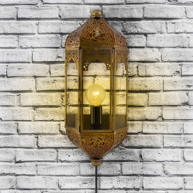 Vintage Moroccan Wall Sconce Lamp, Decorative Door Light, Antique Brass Finish