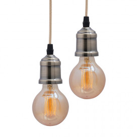Edison Filament Metallic Antique Brass Bulb Holder, Urban, Retro, Nordic Style, With Fixture, Set of 2