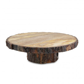 12 Inch Round Wooden Slab Cake and Dessert Pedestal Display Stand, Table Centerpiece Tree Bark Stand