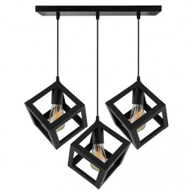 "3-Lights Linear Cluster Chandelier Hanging Cube 6"" Pendant Light, Kitchen Area and Dining Room Light"