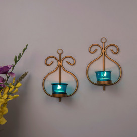 Set of 2 Decorative Golden Wall Sconce/Candle Holder With Turquoise Glass and Free T-light Candles