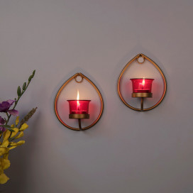 Set of 2 Decorative Golden Drop Wall Sconce/Candle Holder With Red Glass and Free T-light Candles