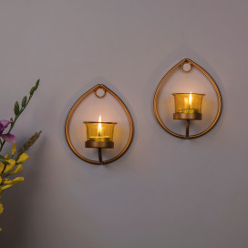Set of 2 Decorative Golden Drop Wall Sconce/Candle Holder With Yellow Glass and Free T-light Candles