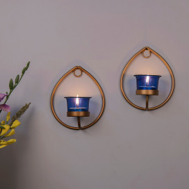 Set of 2 Decorative Golden Drop Wall Sconce/Candle Holder With Blue Glass and Free T-light Candles