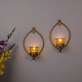Set of 2 Decorative Golden Eye Wall Sconce/Candle Holder With Yellow Glass and Free T-light Candles