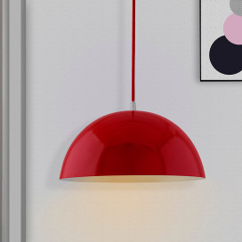 Metallic Red Glossy Pendant Hanging Light, Hanging Lamp 10""
