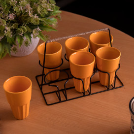 Chai Glass With Stand, Ceramic Chai Glass (6 Glasses), Yellow
