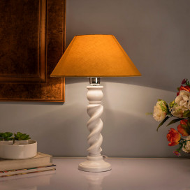 Classic Twister Table Lamp White with Golden Shade