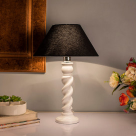 Classic Twister Table Lamp White with Black Shade