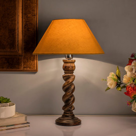 Classic Black Twister Table Lamp with Golden Shade