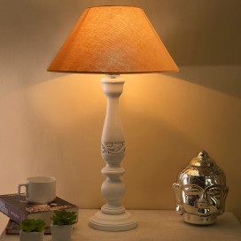Floral Carved White Wood Table Lamp with Golden Shade