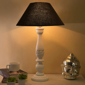 Floral Carved White Wood Table Lamp with Black Shade