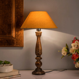 Floral Carved Black Wood Table Lamp with Golden Shade