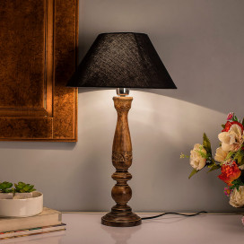 Floral Carved Black Wood Table Lamp with Black Shade