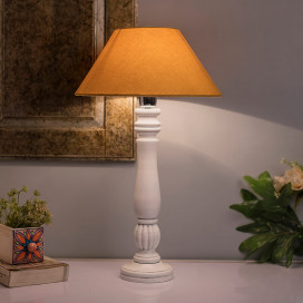 Classic Victorian White Wood Table Lamp with Golden Shade