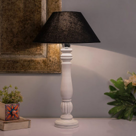 Classic Victorian White Wood Table Lamp with Black Shade