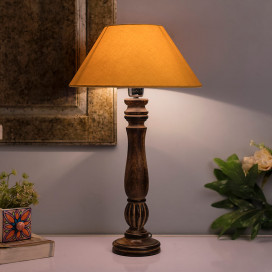 Classic Victorian Black Wood Table Lamp with Golden Shade