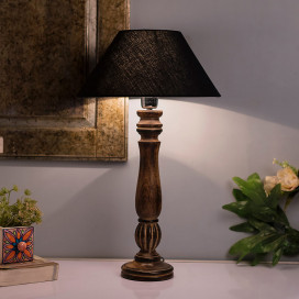 Classic Victorian Black Wood Table Lamp with Black Shade