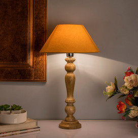 Eureka Polka Natural Wood Table Lamp with Golden Shade