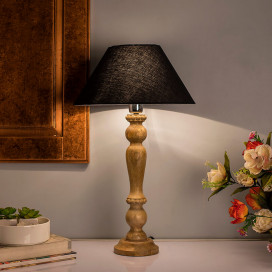 Eureka Polka Natural Wood Table Lamp with Black Shade