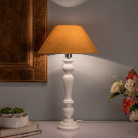 Eureka Polka White Wood Table Lamp with Golden Shade