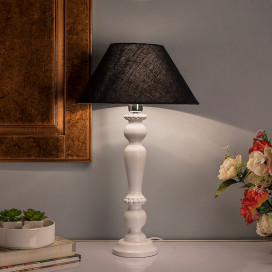 Eureka Polka White Wood Table Lamp with Black Shade
