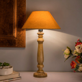 Mabel Rustic Wood Table Lamp with Golden Shade