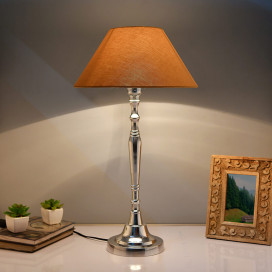 Imperial Nickel Brushed Lamp with Golden Shade
