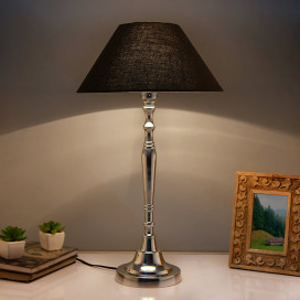 Imperial Nickel Brushed Lamp with Black Shade